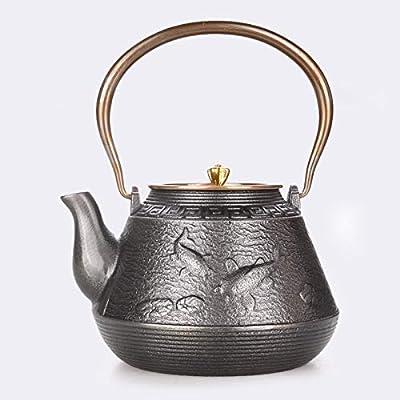 Théière en fonte bouilloire pot en fer japonais artisanat ancien pot en fer pot en fonte pot plus d'un an à la main couverture de cuivre couvercle de fer pot théière brute 1.2L