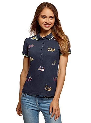 oodji Ultra Damen Pique-Poloshirt mit Stickerei, Blau, DE 42 / EU 44 / XL (Shirt Stickerei)