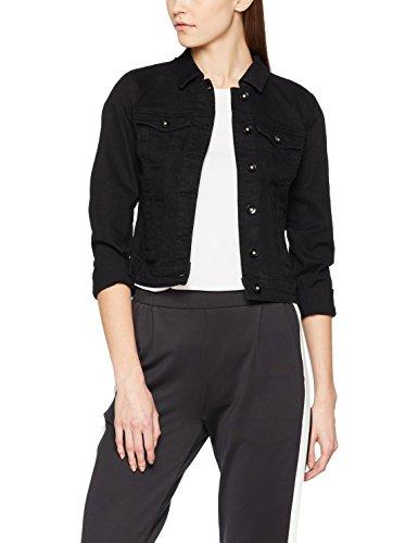 VERO MODA Damen Jacke VMHOT SOYA LS Denim Jacket Mix NOOS, Schwarz Black, 36 (Herstellergröße: S)