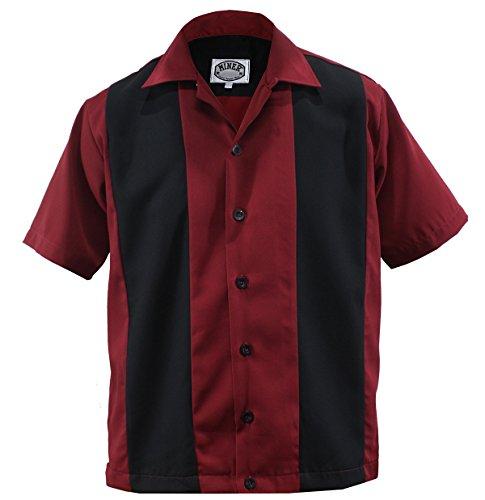 Aloha-Beachwear Bowling Shirt Worker Hemd Rockabilly Two Tone Gabardine Lounge 50er Vintage Retro Double Panel (XL/Xtra-Large, Rot/Schwarz) -
