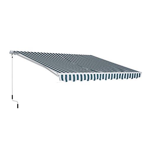 Outsunny Store banne Manuel Rétractable Aluminium Polyester imperméabilisé 3L x 2,5l m