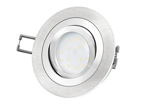 LED-Einbaustrahler Ultra flach (30mm) RF-2 rund Alu gebürstet schwenkbar mit 5W LED Modul warmweiß...
