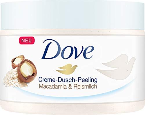 Dove Creme Dusch Peeling Macadamia und Reismilch, 4er Pack (4 x 225 ml)