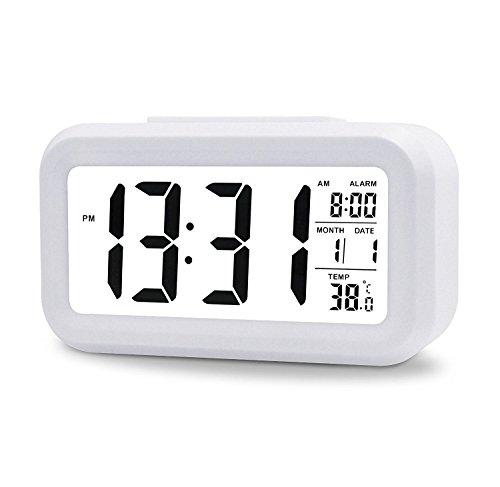 53-LED-Digitaluhr-Wecker-Beleuchtung-Digitalwecker-Reisewecker-mit-Datum-und-Temperatur-Anzeige-Schlummertaste-Sensorlicht-und-Nachtlicht-SchwarzWhite