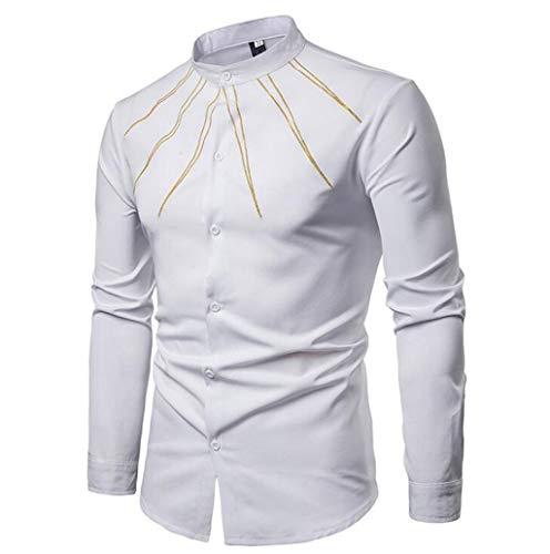 ZJEXJJ Herrenhemden Casual Unterhemden Komfortable Langarm-T-Shirts Persönlichkeit Große Größen Poloshirts Gestickte Strickjacken Arbeitskleidung Herrenjacken (Farbe : Weiß, größe : L) -