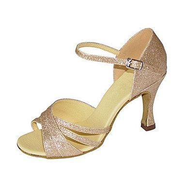 XIAMUO Anpassbare Women's Ballroom Dance Schuhe funkelnden Glitter Latin  Jazz Swing Salsa Schuhe Sandalen Fersen angepasste