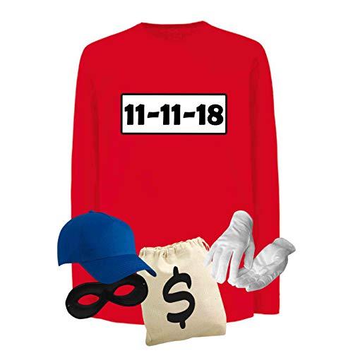 Panzerknacker Longsleeve Deluxe+ Kostüm-Set Wunschnr. Karneval Kids 104-164, Logo & Set:11.11./Set Deluxe+ (11.11.XX/Shirt+Cap+Maske+Hands.+Beutel), Größe Kids LS + Sweat (Fruit of The Loom):104