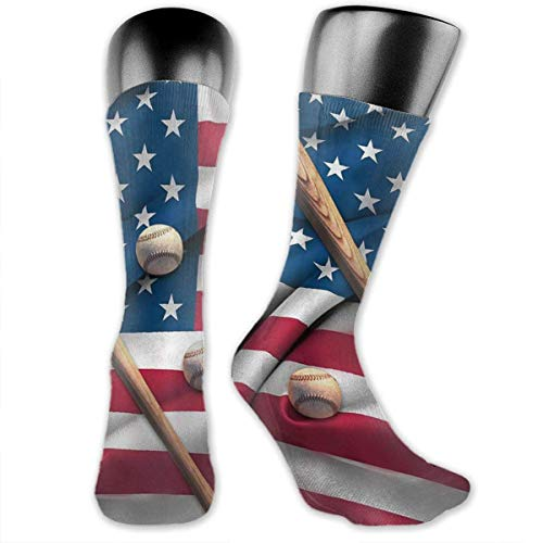 Baseball Bat On American National Flag Over-The-Calf Socks Athletic Socks Knee High Socks For Men Women Sport Long Sock Stockings 40CM - American-flag Fish