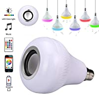 Yeahmart 18W B22 Colour Changing Bulb, LED RGB Wireless Music Play Speaker Bulb Light Flame Lamp, Dimmable Multicolored Disco Light 16 Colors with Remote Control