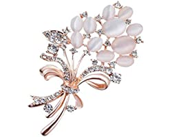 SANNIDHI® Alloy and Diamond Brooch Fashionable Alloy and Diamond Brooch for Women & Girl