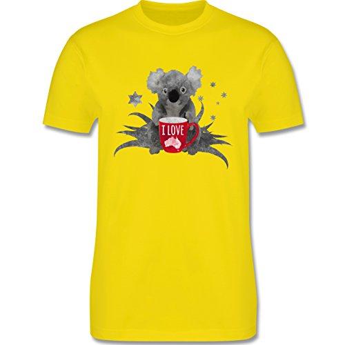 Kontinente - I love Australien Koala - Herren Premium T-Shirt Lemon Gelb
