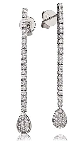 0.75CT Certified G/VS2 Round Brilliant Cut Claw Set Single Row with Pave Pear Shape Diamond Drop Earrings in 18K White Gold