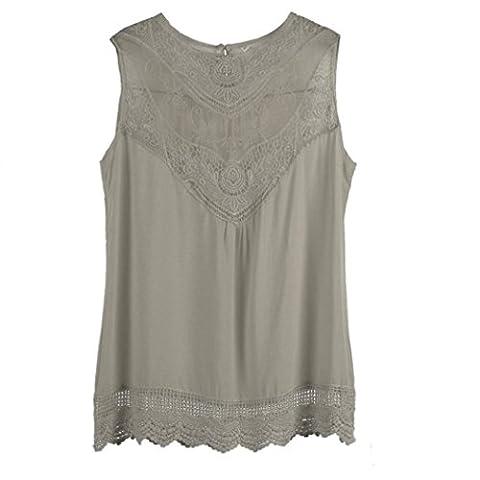 Sunnywill Frauen Sommer-Weste Top ärmellose Bluse lässige Tank-Tops Shirt Spitze für Mädchen Damen (XL, Khaki)