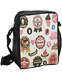 Shopaholic Ice Cream Design Design Side Sling Bags For Kids/teenagers-Black