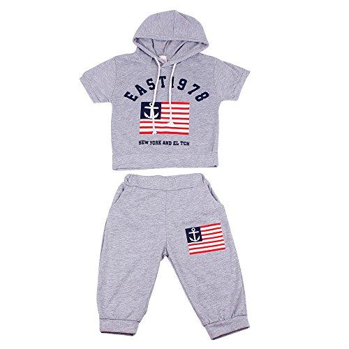 Sommer Babykleidung Kinder Baby jungen Kapuzen T-shirt und -