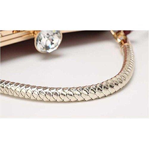 Moda Femminile Borse Pelle Verniciata Luce Diamanti Clip In Ferro Darkblue