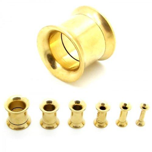 Set Tunnel estensore orecchio tappo flesh tunnel plug piercing 2 3 4 5 6 8 10 mm Colore Oro