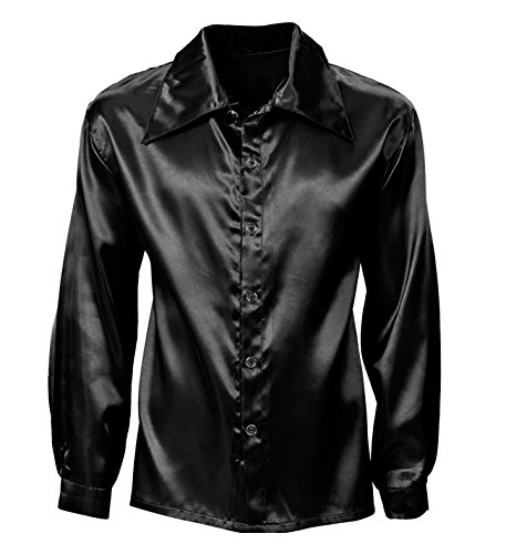WIDMANN WDM95483 - Costume Per Adulti Camicia Disco Anni 70 in Raso, Nero, L