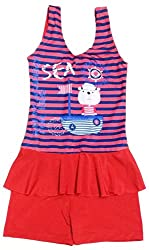 Kids Girls Swim Suit Pink Blue Sea Cat Cartoon Print (Swimming Costume Swimwear)
