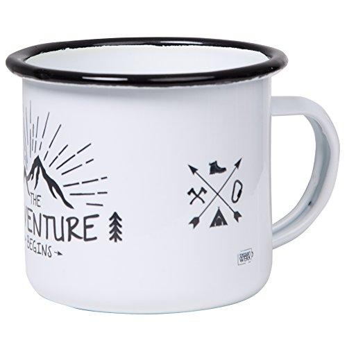 Hochwertige Emaille Tasse THE ADVENTURE BEGINS mit Outdoor Design, leicht und bruchsicher, für Camping und Trekking - von tassenWERK.com
