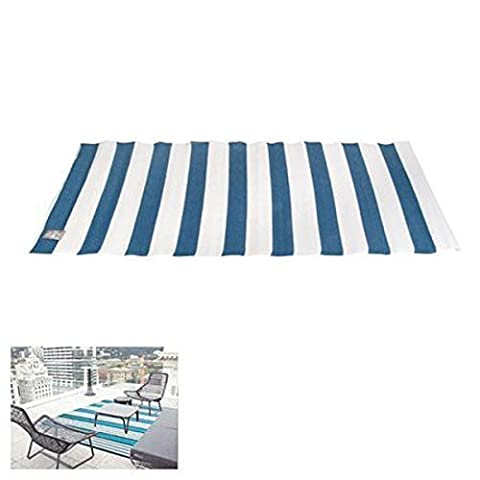 Outdoor-Teppich 90x180cm Läufer Brücke Balkon Terrasse Camping Strand Garten, Farbe:Blau/Weiß (Teppich Für Balkon)