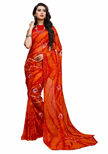 Miraan Women's Chiffon Saree With Blouse Piece (Ru2307Ared_Red)