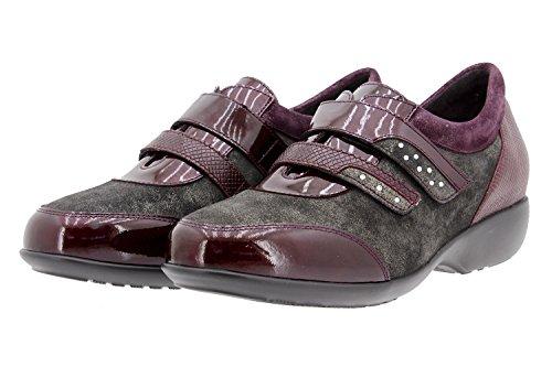 Scarpe donna comfort pelle PieSanto 9676 scarpe con condoncino comfort larghezza speciale Burdeos