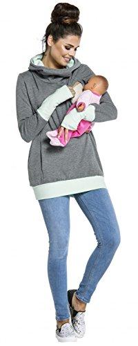 Zeta Ville - Sweat-shirt allaitement maternité détails contraste - femme - 330c Gris & Menthe