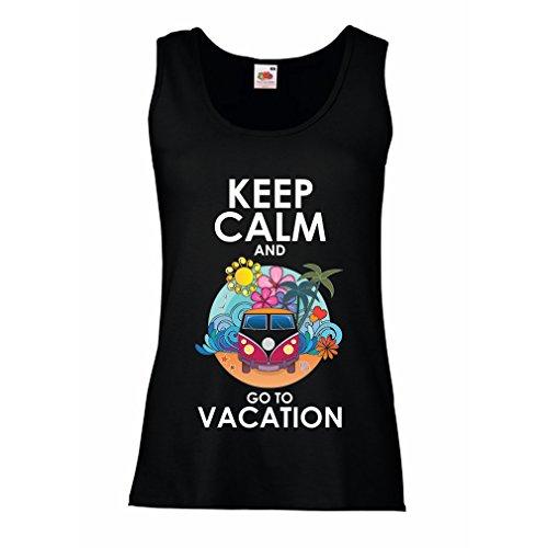 N4442P Damen Tank-Top Keep Calm and Go to Vacation (Medium Schwarz Mehrfarben)