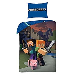 Character World 'Minecraft Bettwäsche Kinder Bettwäsche 140×200 cm (Oeko Tex Standard 100)