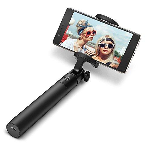 Asta Selfie Bluetooth, BlitzWolf 3 in 1 Mini Bastone Selfie Estensibile Monopiede 270° Rotazione, Bastone Selfie Universale Ricaricabile con Micro Cavo USB, Selfie Stick per iPhone 7 / 7 plus / 6s / 5s / 5 / Samsung s7 / edge / Huawei / Android 3.5-6inch Smartphones (Nero)