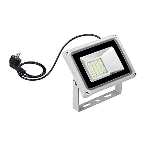 LED Fluter mit Stecker,6000-6500K Wandleuchte,IP65 Wasserdicht Flutlichtstrahler für Garten, Grünflächen, Hotels, Bühnen (Kaltweiß, 20W-200LM)