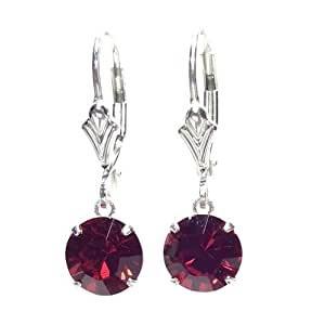 SILVER LEVERBACK EARRINGS MADE WITH SPARKLING SIAM SWAROVSKI CRYSTAL. HIGH QUALITY. LOW PRICES.