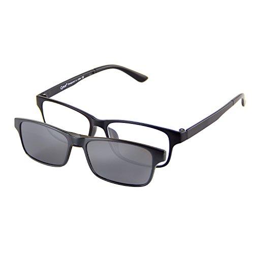 Cyxus Anti Blaues Licht Brille [Klare Linse] mit Clip An Polarisiert Sonnenbrille Set Rechteckig Brillengestell Unisex(Männer / Frauen) Schwarz Polarisiert Linse