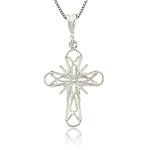 Filigree Thin Sterling Silver .925 Flower Cut Design Star Cross