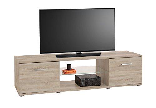 Mesa de TV módulo bajo color roble con estante de cristal y dos puertas de salón comedor. 150cm largo x 41cm ancho x 39cm altura.