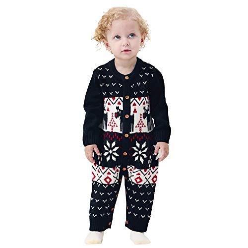 Venmo Unisex Neugeborenes Baby Strick Strampler Lange Ärmel Watte Weihnachten warme Pullover mit Elch Hirsche Schneeflocke Muster Mantel für die Saison Herbst und Winter (0-24 Monate)