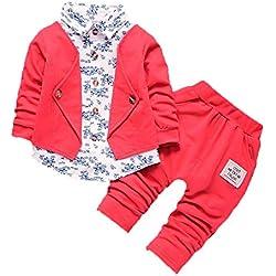 Ropa Bebe Niño otoño Invierno 2018, ❤️ Amlaiworld Conjunto de Ropa para bebé niños de Caballeros Trajes de Fiesta del Boda Formal Camisas y Pantalones