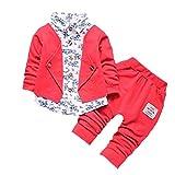 BURFLY 2 STÜCKE Kinder langärmeligen Gentleman floral Print Shirt gefälschte Zweiteilige Anzugjacke + einfarbig Lange Hosen (12M-3Y)