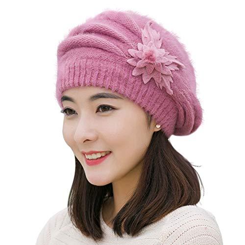Amorar Frauen Baskenmütze Kopfbedeckung Eleganz Strickmütze Retro-Stil Wolle geflochten Hut Französisch Beret dekorative Blumen für Winter ()