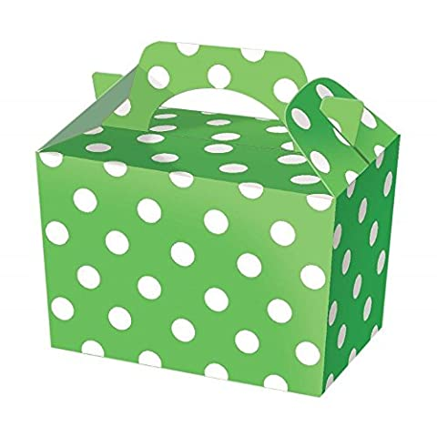 10 Green Polka Dot Party Boxes - Spotty Food Loot Lunch Cardboard Gift