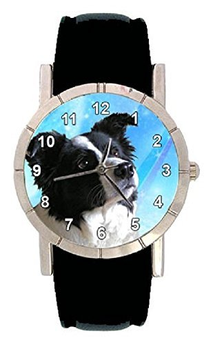 border-collie-hunde-motiv-damenuhr-mit-lederarmband