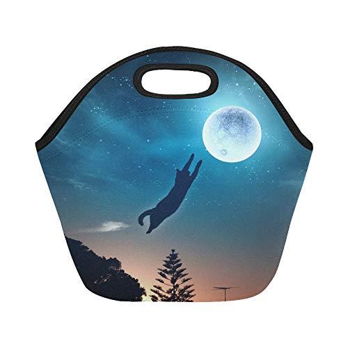 nch-Tasche Image Cat Jump Catching Moon Große, wiederverwendbare, thermisch dicke Lunch-Tragetaschen Für Brotdosen im Freien, bei der Arbeit, im Büro oder in der Schule ()