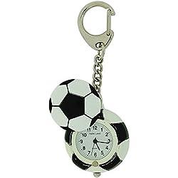 Park Lane unisex schwarz & weiße Fußball Schlüsselringuhr, Geschenkdose PLKR27