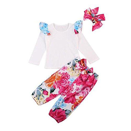Bornbay Baby Overall Outfits für Mädchen Blumen Kleidung Top Hose Stirnband Tuch Set 0-24 (Alte Kostüme 9 Monate 12 Halloween Uk)
