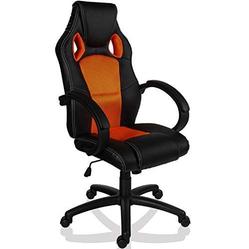 Maxstore RACEMASTER® Racing Bürostuhl GS Series Gaming Chair Gamer Stuhl in 20 Varianten Drehstuhl Gaslift SGS geprüft Schreibtischstuhl Wippmechanik Orange