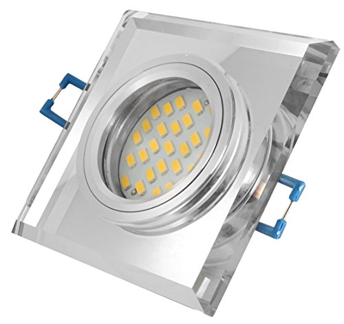 5W Glas Einbaustrahler - chrom + 5Watt LED 430Lumen - 6500Kelvin kaltweiss - 120° GU10 230Volt Set - quadratisch