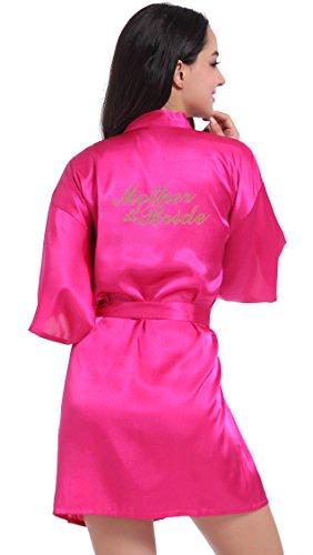 DF-deals Damen Satin Kimono Bademantel für Brautjungfer und Brautjungfer Hochzeit Party Getting Ready Short Robe with Gold Glitter - Rot - X-Large =US Größe 8-10