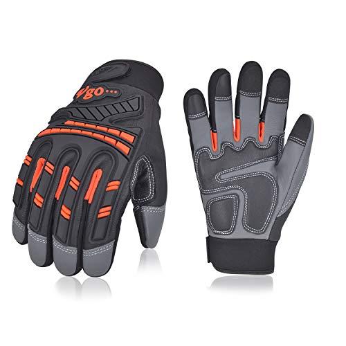 Vgo 3 paia guanti da lavoro uomo, guanti in pelle, guanti da meccanico, antivibrazione, caldi, multifunzione (9/L, Arancio fluorescente, GA8954)