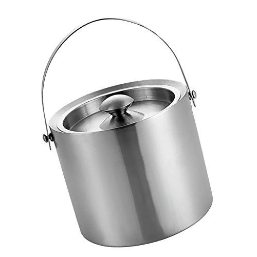 Gazechimp Doppelwandiger Edelstahl Eimer Wein Kühler Mit Deckel Bar - Silber, 3L